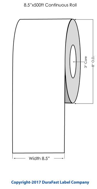 """Afinia R635 BS5609 Glossy BOPP Label Roll 8.5""""x500 Feet"""