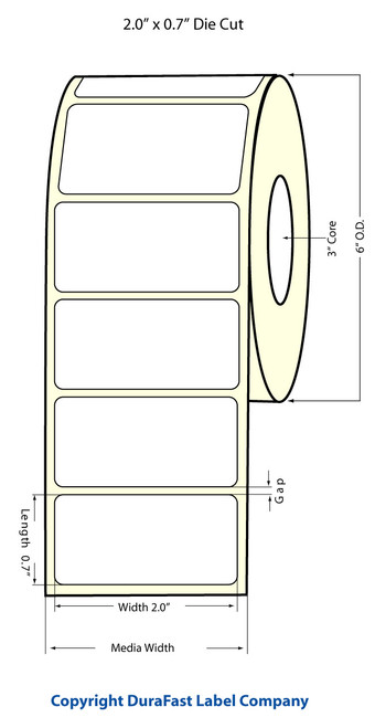 "Inkjet 2""x .7"" NP (0.30 gap) High Gloss Paper Labels"