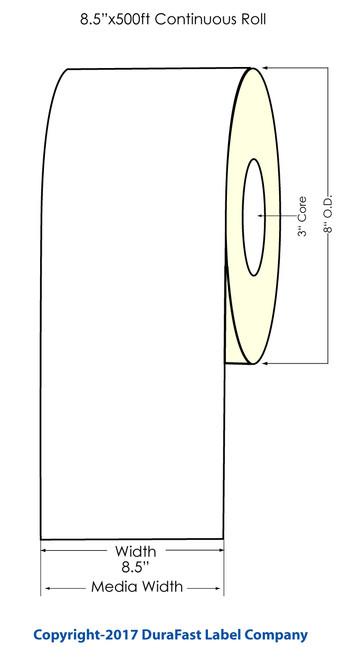 "Afinia L801 Memjet 8.5""x500 ft Continuous Matte  Inkjet (Paper) Label Roll"