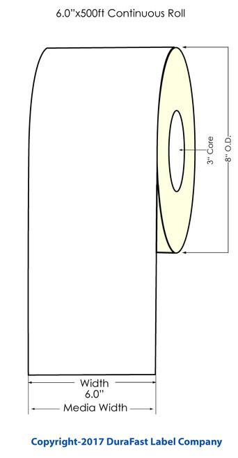 "Afinia L801 Memjet 6""x500 ft Continuous Matte  Inkjet Paper Label Roll"