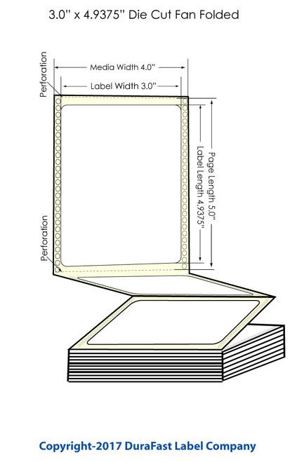 "DuraFast 3"" x 4 15/16"" High Gloss Labels for Epson GP-C831 Label Printer - 850/Carton"