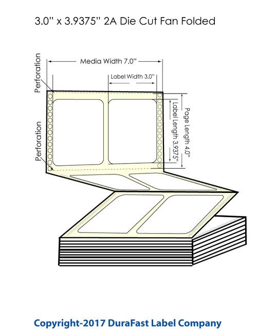 "DuraFast 3"" x 3 15/16"" High Gloss Labels for Epson GP-C831 Label Printer - 3,000/Carton"