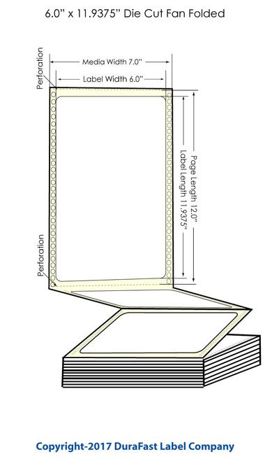 "DuraFast 6"" x 11 15/16""Matte Labels for Epson GP-C831 Label Printer - 850/Carton"