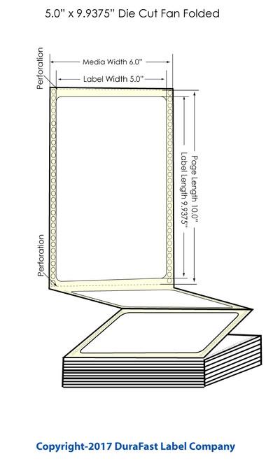 "DuraFast 5"" x 9 15/16""Matte BOPP Labels for Epson GP-C831 Label Printer - 800/Carton"