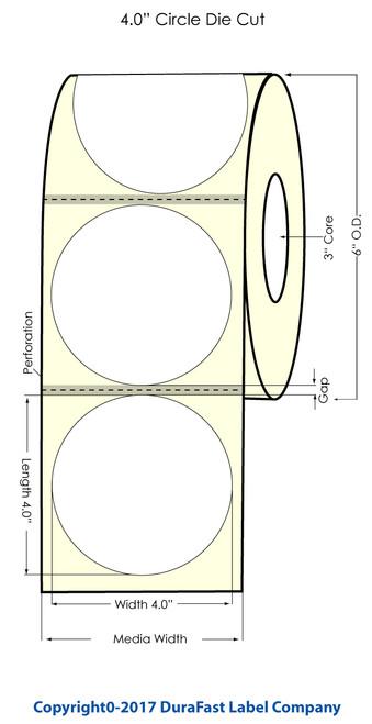 "Epson TM-C7500 4"" Circle High Gloss Label Roll / 600/Roll 6"" OD w Matrix"