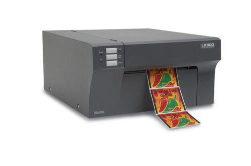 Primera LX900 color label printer can print photographic quality product labels up to 8 inches wide.
