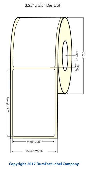"""3.25"""" x 5.5"""" Glossy Polypropylene Inkjet Labels 450/Roll"""