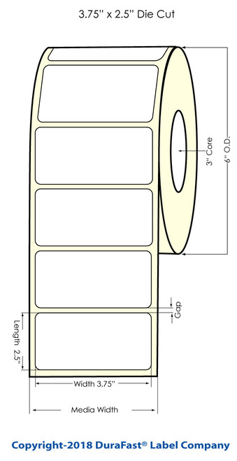 """3.75"""" x 2.5"""" Glossy Polypropylene Inkjet Labels 950/Roll"""