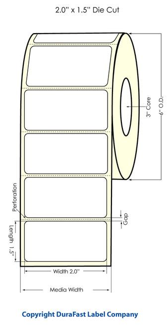 "Inkjet 2""x1.5"" High Gloss Paper Label 1600/Roll"
