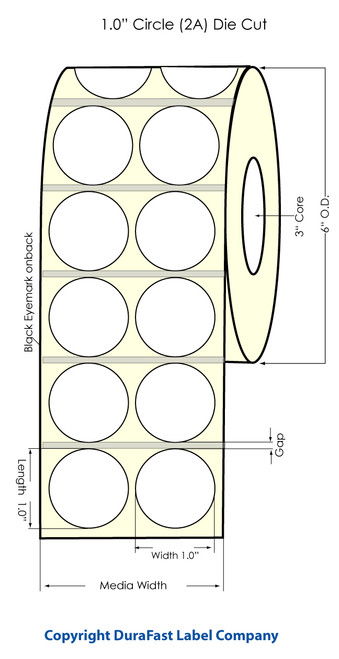"Inkjet 1"" Circle 2 UP Glossy Silver Polyester Label 4000/Roll w black eyemark"