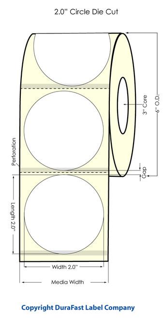 "Inkjet 2"" Circle Removable, 0.25 GAP, Blk Eyemark High Gloss Paper Labels"