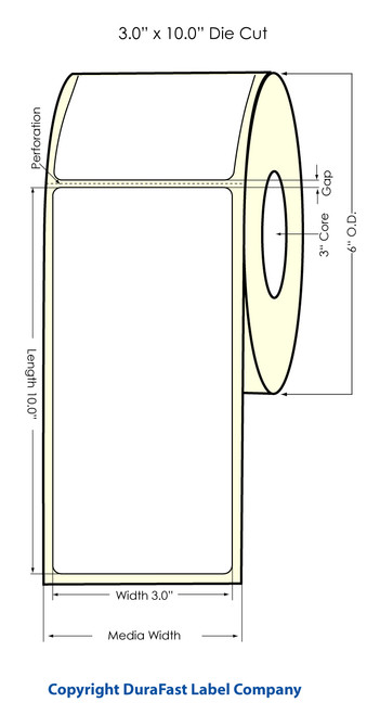 "Inkjet 3""x10"" (0.25 gap) High Gloss Paper Labels"