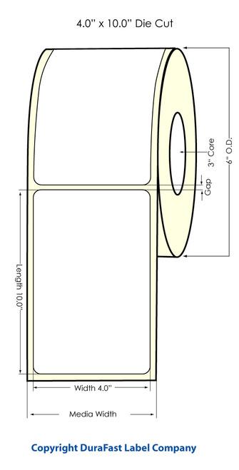 "Inkjet 4""x10"" NP (0.25 gap) High Gloss Paper Labels"