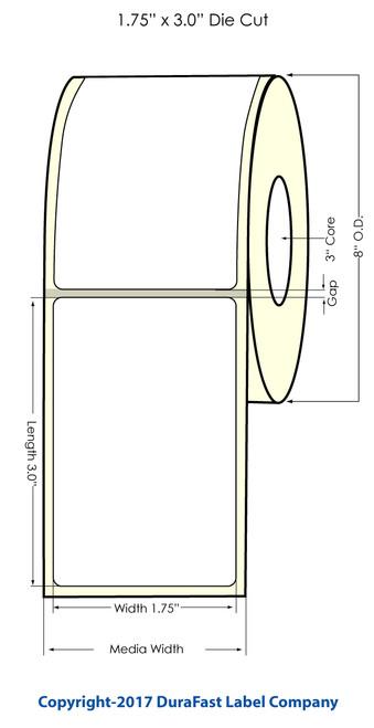 "Inkjet 1.75""x3"" NP High Gloss Paper Labels 1800/Roll (2"" Media Width)"