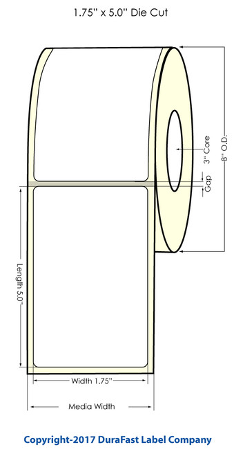 "Inkjet 1.75""x5"" NP High Gloss Paper Labels 1800/Roll (2"" Media Width)"