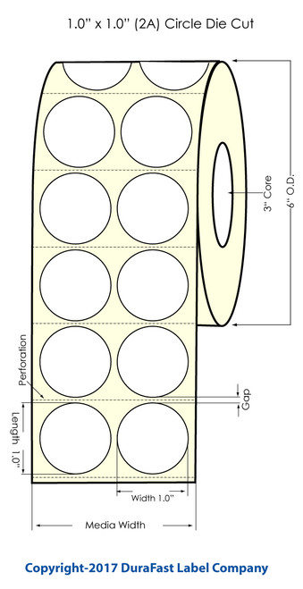 "Inkjet 1"" Circle (2 Across) Inkjet Matte Paper Labels 4000/Roll"
