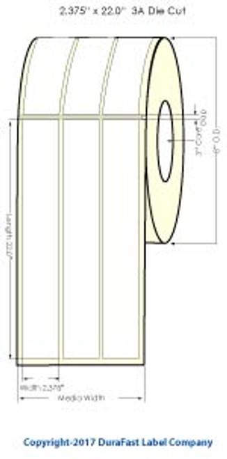 """iColor 700 2.375""""x22"""" Memjet HG Paper Labels 3 UP 700Roll"""