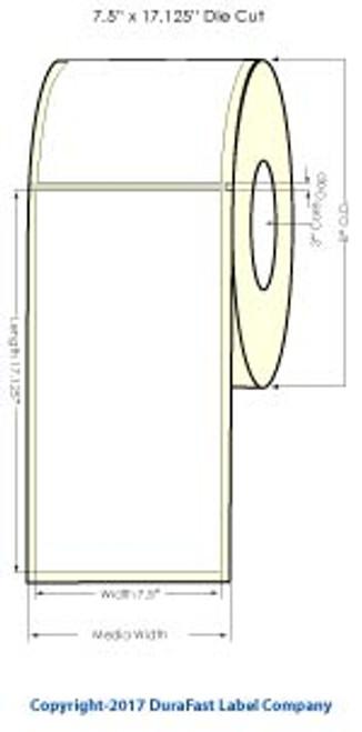 """iColor 700 7.5"""" x 17.125"""" Memjet HG Paper Labels 325/Roll Matrix ON"""