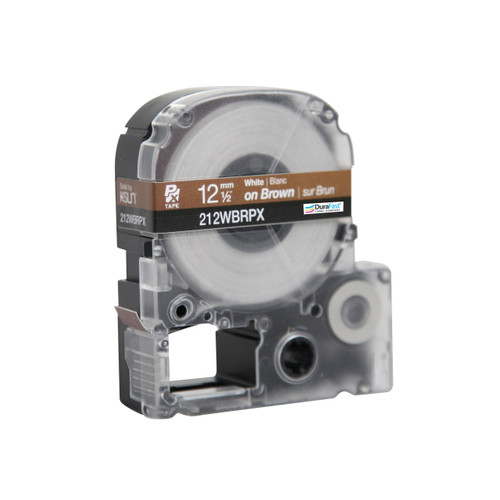 "Epson 212WBPX 1/2"" Black Glossy Polyester Label PX Tape"