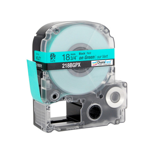 "Epson 218BGPX 3/4"" Green Glossy Polyester Label PX Tape"