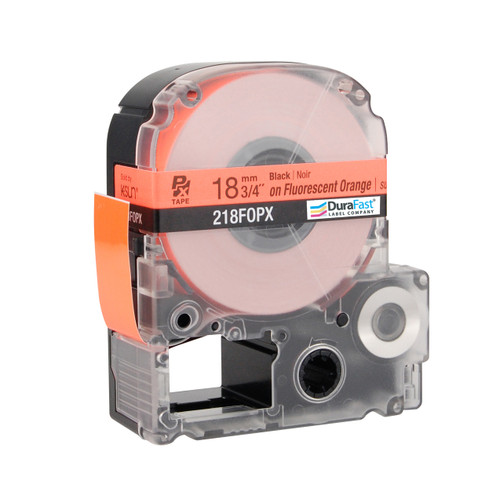 "Epson 218FOPX 3/4"" Orange Glossy Flourescent Label PX Tape"