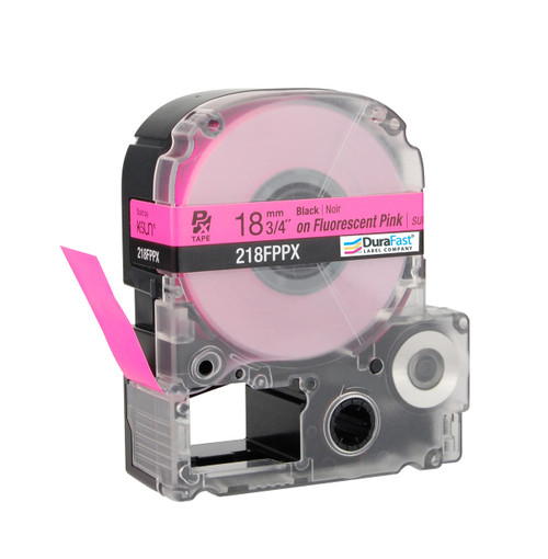 "Epson 218FPPX 3/4"" Pink Glossy Flourescent Label PX Tape"