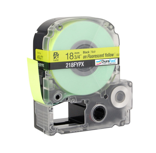 """Epson 218FYPX 3/4"""" Yellow Glossy Flourescent Label PX Tape"""