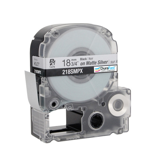 """Epson 218SMPX 3/4"""" Silver Matte Polyester Label PX Tape"""