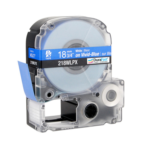 "Epson 218WLPX 3/4"" Blue Glossy Polyester Label PX Tape"