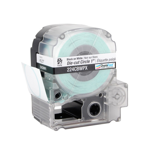 "Epson 224CBWPX 1"" White Glossy Circle Die-Cut Label PX Tape"
