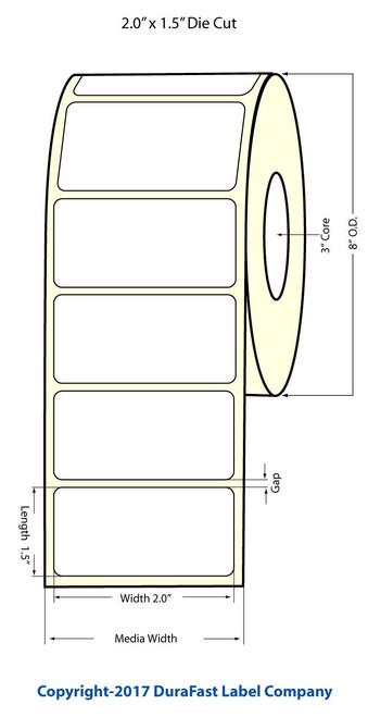 "Epson TM-C7500G 2""x1.5"" NP Glossy BOPP Labels 3500/Roll"