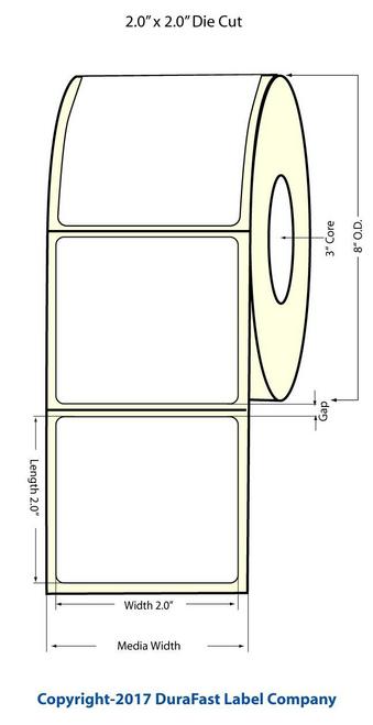 "TM-C7500G 2"" x 2"" Glossy BOPP Labels 3000/Roll 8"" OD (554033)"
