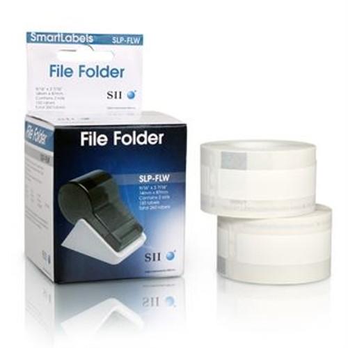 Seiko SLP620/650 0.5625 x 3.4375 White File Folder Labels SLP-FLW