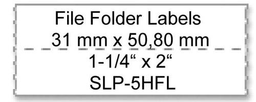 Seiko SLP620/650 1.25 x 2 White File Folder Labels SLP-5HFL