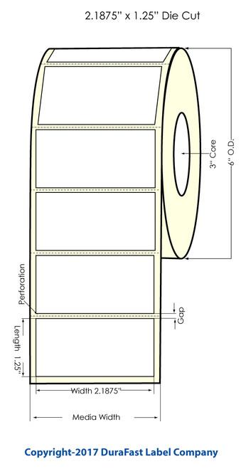 DuraFast Inkjet 2.1875x1.25 InchMatte Paper Labels 1800/Roll