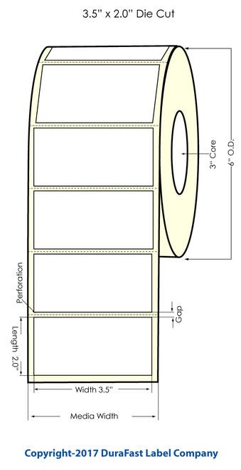 DuraFast Inkjet 3.5x2 InchMatte Paper Labels 1200/Roll