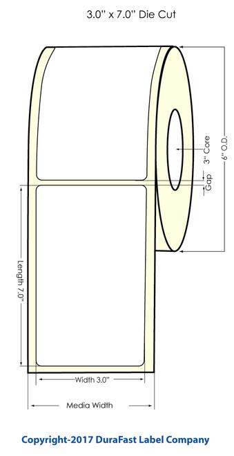 """DuraFast 3""""x7"""" NP Matte Polypropylene Inkjet Labels 350/Roll"""
