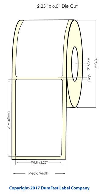 """DuraFast 2.25""""x6"""" NP Matte Polypropylene Inkjet Labels 400/Roll"""