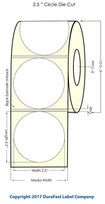 "DuraFast 2.5"" Circle 3mm Glossy BOPP 900 labels/roll"