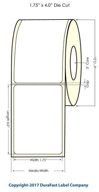 """DuraFast 1.75""""x4"""" Black eye Glossy BOPP 600 labels/roll"""