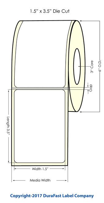 "DuraFast 1.5""x3.5"" NP Glossy BOPP | 700 labels/roll"