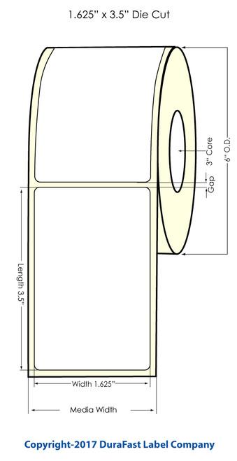 "DuraFast 1.625""x3.5"" NP 0.25"" gap Glossy BOPP 700 labels/roll"