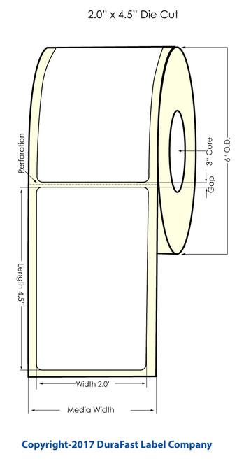"TM-C7500 2"" x 4.5"" Matte Polypropylene Labels 550/Roll"
