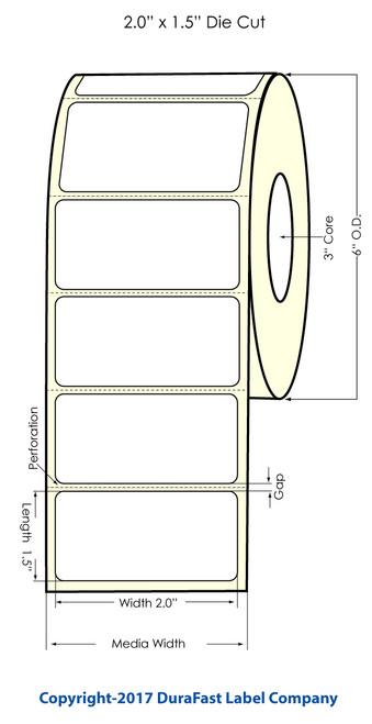 "TM-C7500G 2""x1.5"" Glossy Polypropylene Labels 1600/Roll"