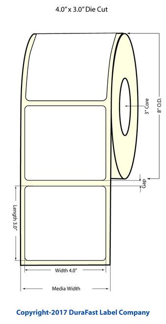 "TM-C7500 4""x3"" High Gloss Paper Labels 1500/Roll - 8"" OD"