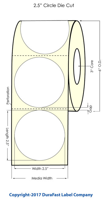 "TM-C3500 2.5"" Circle (1A) Matte BOPP Label 450/Roll"