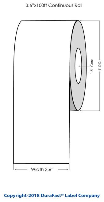 "TM-C3500 3.6"" x 100 ft Matte Tag Roll"