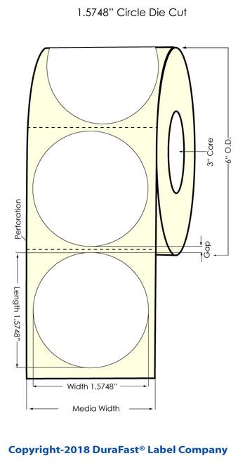 "LX500 1.5748"" Circle Glossy BOPP Labels 900/Roll"