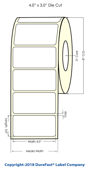 "TM-C7500 4"" x 3"" (8"" OD) Chemical Label 1500/Roll"