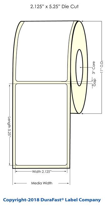 "TM-C7500 2.125"" x 5.25"" (11"" OD) Chemical Label 2000/Roll"